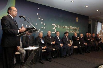 3° Encontro Nacional do Judiciário: Ministro Gilmar Mendes discursa na abertura do evento.