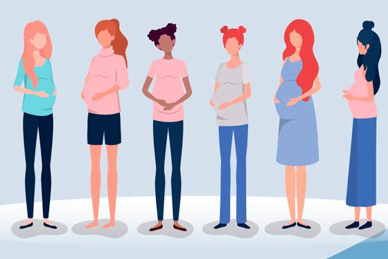 Imagem gráfica com seis mulheres grávidas com suas mãos sob as barrigas