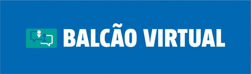 Arte com logomarca do Balcão Virtual. É composta por um retângulo azul, no canto esquerdo a logomarca que é um desenho com caixas de diálogo e a direita a palavra Balcão Virtual em letras garrafais.